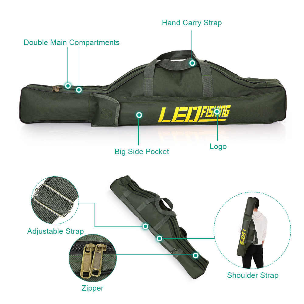 LEO canne pliante sac de pêche sacs de pêche 420D étui zippé poisson pôle stockage sac de pêche porte-matériel matériel Pesca 100 cm/150 cm