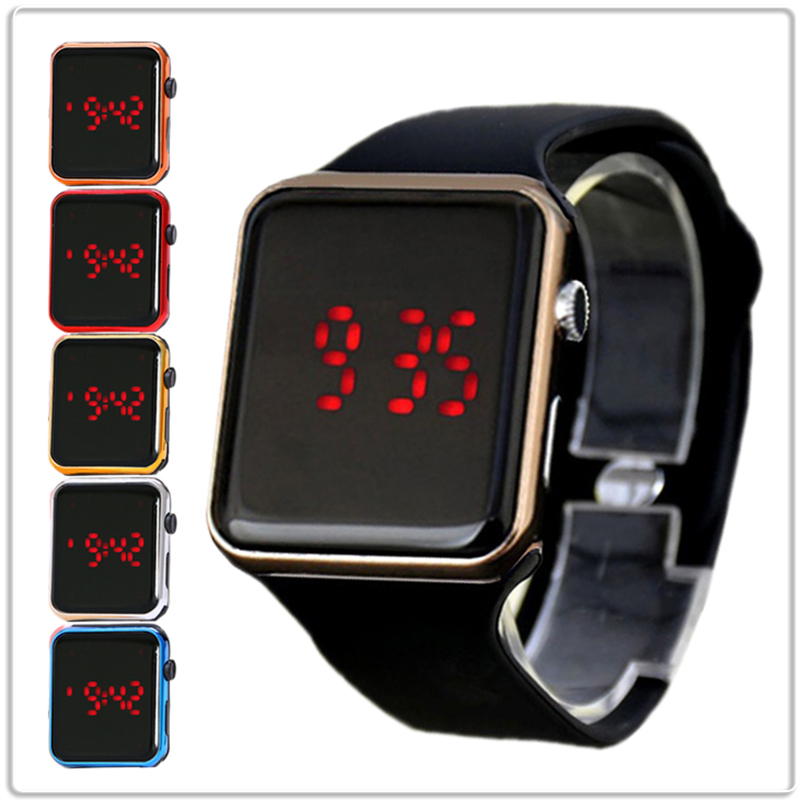 Silicone Kids Watches For Boys Girls Students Hot Colorful Digital Children's Watch Fashion Square LED Electronic Sports Watches
