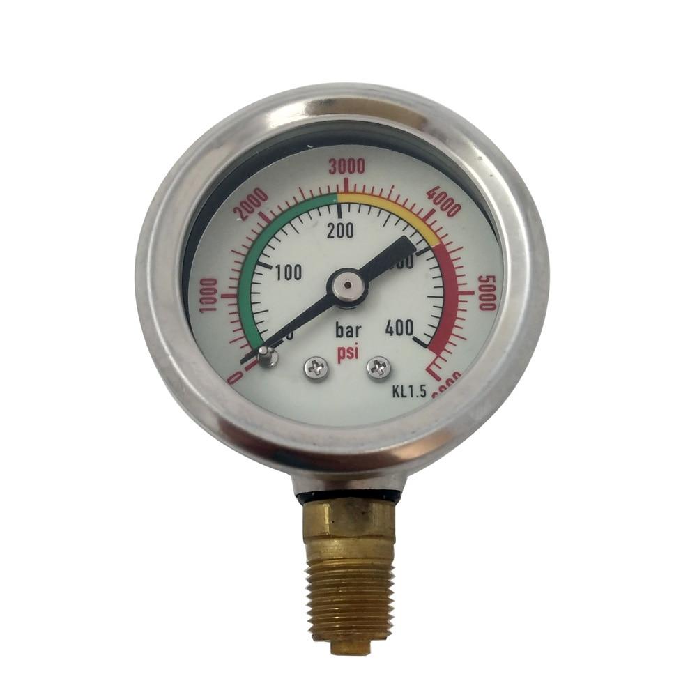 PCP Paintball Vertical Manometer For Fill Station Double-Range 400bar / 6000psi High Pressure Gauge 1/8npt
