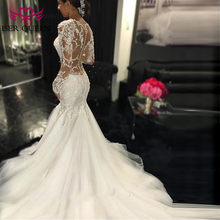 Sexy Illusion Back Vintage Lace Mermaid Wedding Dress 2019 V neck Embroidery Appliques Wedding Dresses Bridal Gowns W0037(China)