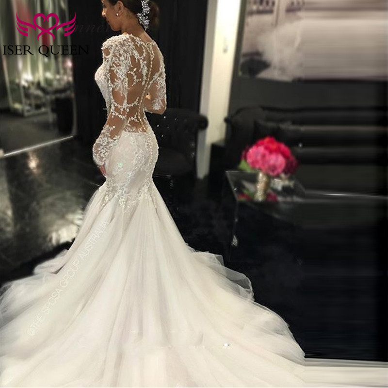 Sexy Illusion Back Vintage Lace Mermaid Wedding Dress  V Neck Embroidery Appliques Wedding Dresses Bridal Gowns W0037