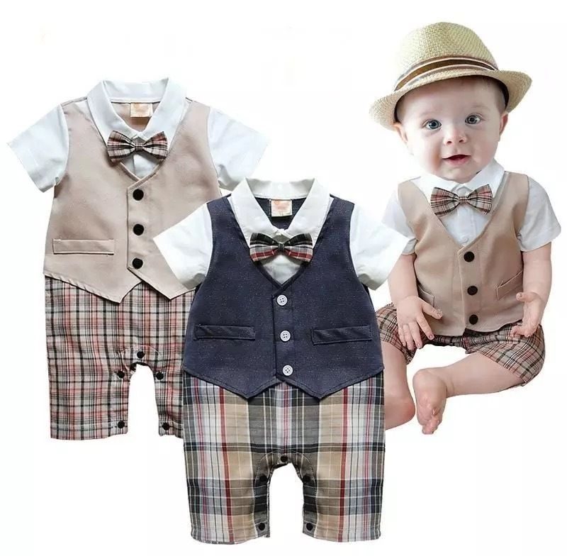 2018 Fashion Plaid Cotton Newborn Kid Baby Boy Infant Outfits Jumpsuit   Rompers   Gentleman Set New