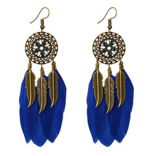 Colorful Red Green Blue Feather Tassel Earrings for Women Bohemian Handmade Earings Hollow Floral Vintage Earing Jewelry