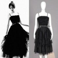 Оптовая и розничная 2018 модные, пикантные Черные Сетчатые Спагетти ремень женское платье с поясом Бесплатная доставка