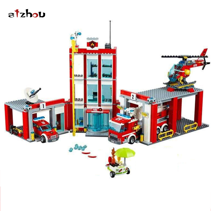 Stzhou 02052 City Fire Station Command Center Truck Car Helicopter Building Block Toys For Children Christmas Gift Legoings 6727 city street police station car truck building blocks bricks educational toys for children gift christmas legoings 511pcs
