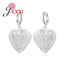 New Fashion Heart Square Photo Locket Dangle Earrings for Women Picture Frame 925 Sterling Silver Jewelry Valentine Lover Gifts(China)