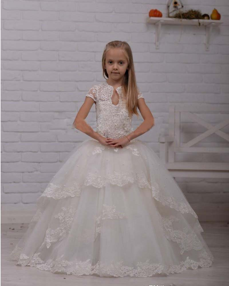 Fashion Lace Beads Tulle Ball Gown Floor Lengh   Flower     Girls     Dresses   For Weddings Birthday Party Custom Made