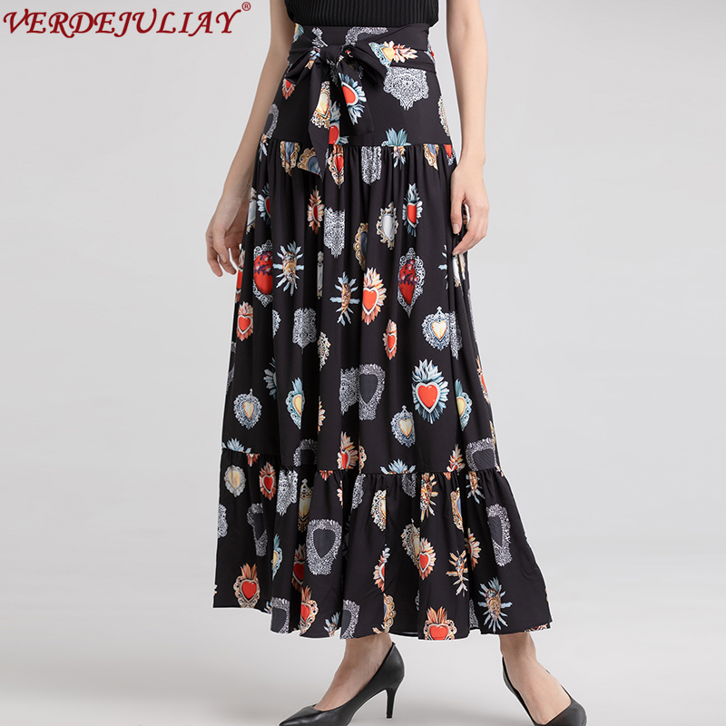 Casual Skirts Women 2019 New Spring High Quality Fashion Slim Jewelry Print Ruffles Top Grade Black