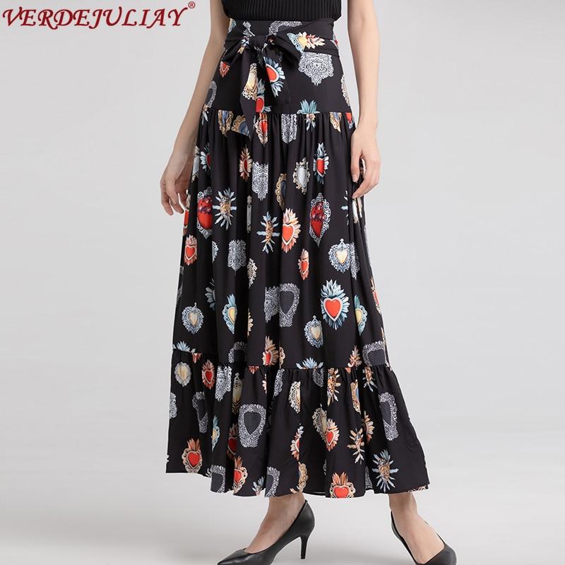 Kadın Giyim'ten Etekler'de Casual Etekler Kadınlar 2019 Yeni Bahar Yüksek Kalite Moda İnce Mücevher Baskı Ruffles Üst Sınıf Siyah Ayak Bileği Uzunluğu Sıcak Etekler'da  Grup 1