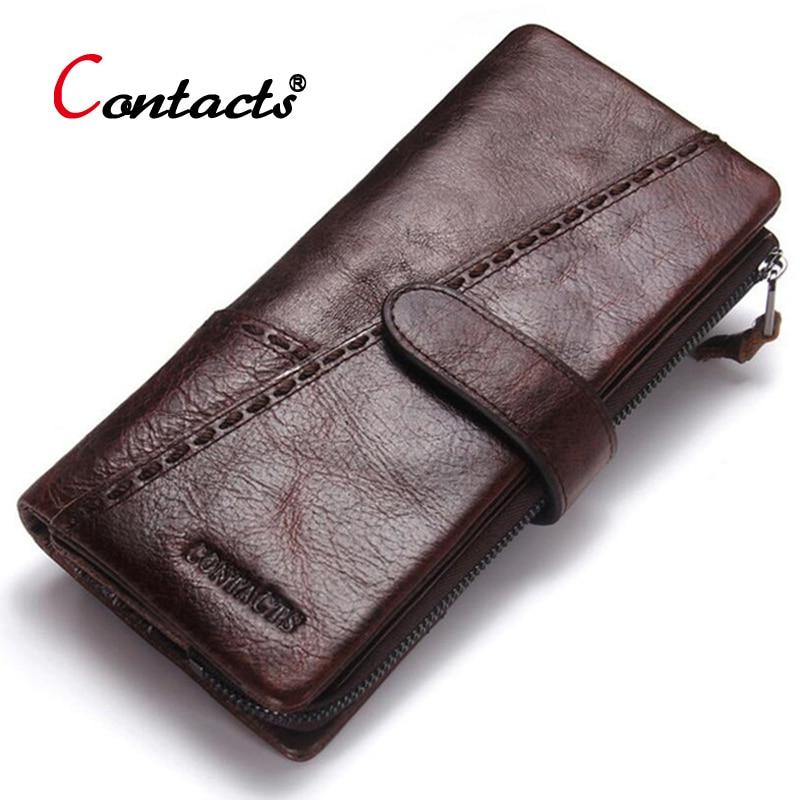 Contact's جلد طبيعي المحفظة الرجال عملة محفظة الذكور مخلب حامل بطاقة الائتمان عملة محفظة walet المال حقيبة منظم محفظة طويلة