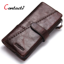 CONTACT'S Genuine Leather Men Wallets Male Purse Famous Brand Long Men Clutch Bags Credit Card Holder Phone Money Bag 2017 ograff genuine leather men wallets famous brand designer long purse card holder money bag men clutch large capacity phone walet