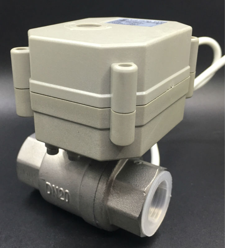 SS304 3/4'' Full Port 2 Way DN20 Water Electric Motorized Ball Valve TF20-S2-C AC/DC9V-24V 3 Wires Metal Gear On/Off 5 Sec CE tf20 s2 c high quality electric shut off valve dc12v 2 wire 3 4 full bore stainless steel 304 electric water valve metal gear