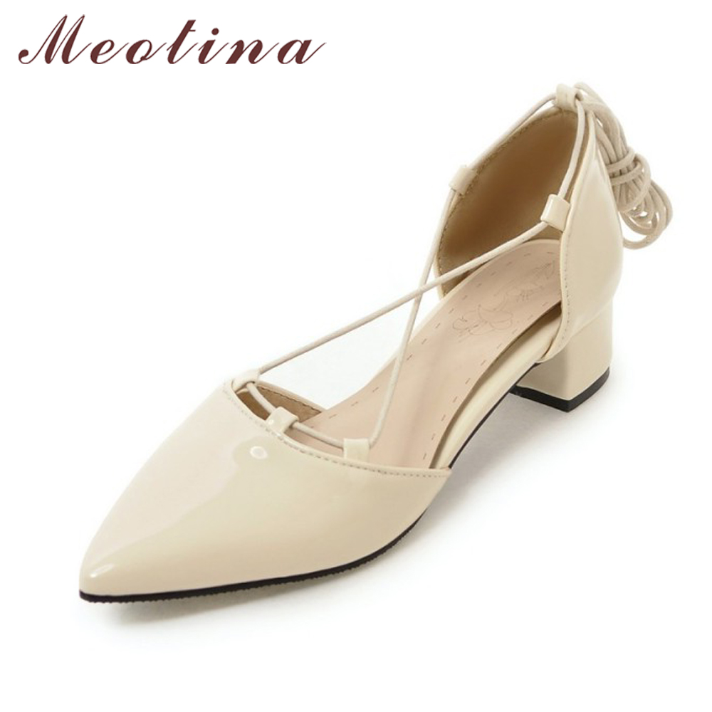 Meotina Women Shoes Pointed Toe Two Piece Ladies Shoes Cross Tied Mid Thick Heel Women Pumps Causal Footwear Plus Size 12 34-46 ladies real leather pumps shoes women pointed toe cross strap gladiator shoes fiork nude color sexy female footwear size 34 40