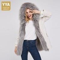 Лидирующий бренд вниз лайнер лисий мех съемный вкладыш енотовидная собака меховой воротник длинное пальто Для женщин Повседневное натурал