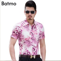 2017 New Arrival High Quality Casual Pink Red Printed Short Sleeves Men S Shirt Plus Size
