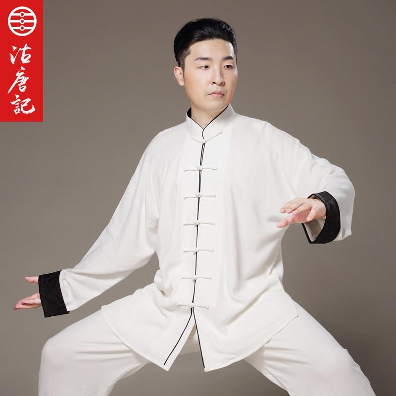 Flax Tai Chi Uniform Taiji  Performance Clothing Autumn Summer Linen Kung Fu  Suit  Wing Chun Uniform Chinese Style