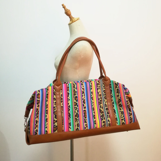 4d0b912c5d37 Canvas Large Hand Bag Wholesale Blanks Serape Leopard Duffle Bag Overnight  Travel Purse with Shoulder Strap DOM1061096