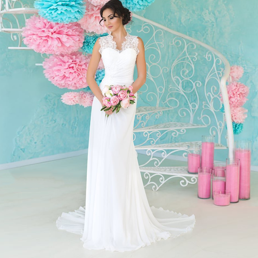 ADLN Lace Beach Wedding Dress 2020 Cap Sleeve White/ Ivory Bridal Gown Chiffon Sweep Train Wedding Dresses Vestido De Noiva