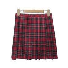 Японская школьная форма опрятная плиссированная клетчатая мини-юбки из тартана Женская юбка размера XXL с высокой талией