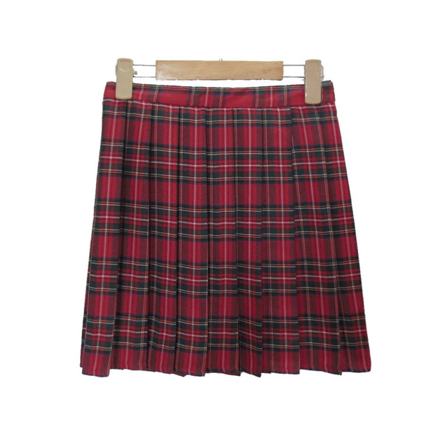 91bd0d9f85f30 Japanese School Uniform Preppy Pleated Plaid Mini Tartan Skirts Women High  Waisted Plus size XXL Skirt Cosplay