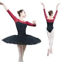 High Quality 3 4 Long Sleeve Splice Dancewear Women Sexy Lace Ballet Dance Leotard Adult Girl