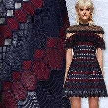 Высокое качество геометрический узор двойной цвет выдолбленные ткань Водорастворимые Кружева Нижняя Вышивка Ткань для платья DIY