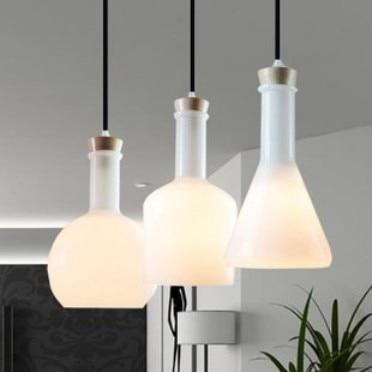 ФОТО White 3 Heads Nordic American laboratory white magic bottle Contemporary adornment The modern novel lamp