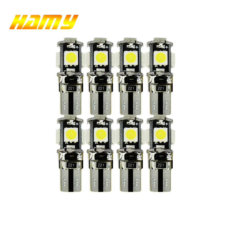 10x T10 W5w LED Canbus For Cars Bulbs 12V Interior Reading Light Wedge Side Lamp 5W5 LED White 5050 5SMD 5000K White Free Error