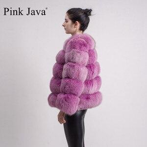 Image 3 - Abrigo de piel auténtica de zorro para mujer, moda de invierno, manga larga, rosa, QC8081, 2017