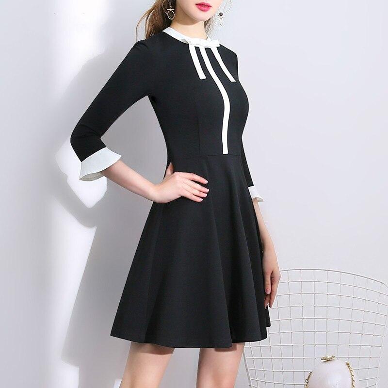 Couleur A Femmes ligne Patchwork Flare Nouveau Mince 2018 Courte Manches Contraste D'été cou D'o Automne Hepburn Arc Robe Noir dXqFwaB
