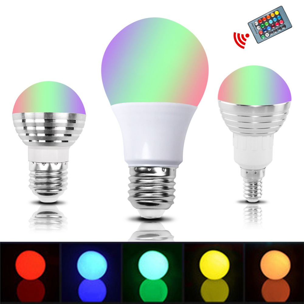 E27 E14 RGB LED Bulb Lamp 3W 5W 10W Color Magic Spot Light Remote Control Dimmable 24key Holiday LED Night Light 110V 220V