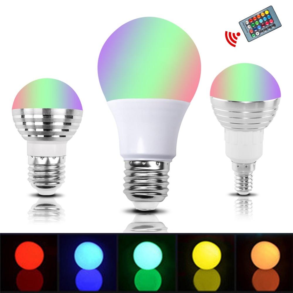 E27 E14 RGB LED Bulb Lamp 3W 5W 10W Color Magic Spot Light Remote Control Dimmable 24key Holiday LED Night Light 110V 220V