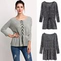 Hot Sale High Fashion Autumn Winter Women Shirt Sleeve Rope Waist Elastic Thin Sweaters Batwing Pullover Crochet 2 Colors