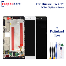 Black White For Huawei P6 LCD Display+Touch Screen Digitizer Glass Panel+Frame Assembly Replacement For Huawei Ascend P6 white black gold for huawei ascend mate s lcd display screen touch digiziter assembly with frame free shipping