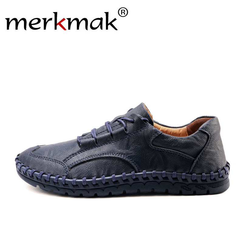Merkmak New Men Genuine Leather Shoes Summer Fashion Casual Car Suture Loafers Men's Casual Soft Comfortable Male Footwear Flats