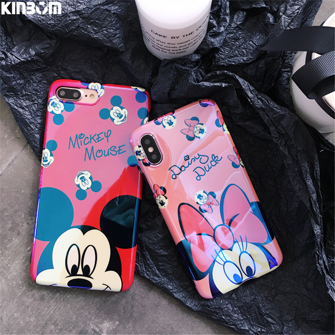 KINBOM Cartoon Soft Silicone Phone Caes For Iphone 6s 7 8plus X Lovely <font><b>Blu-Ray</b></font> Anti-Knock Half <font><b>Pack</b></font> Cover Case Mobile Phone Bag