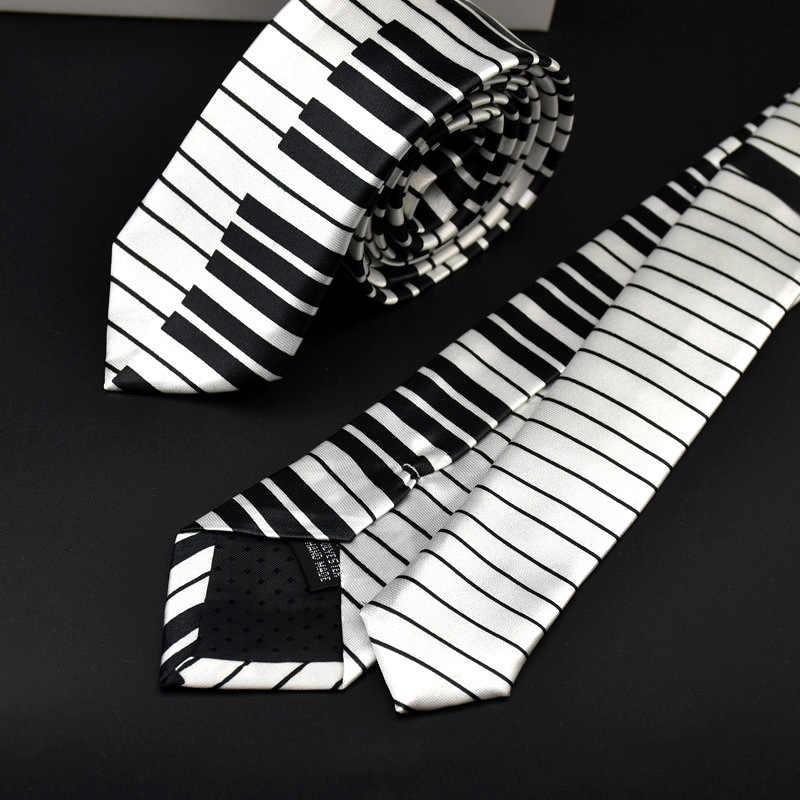 de gros large choix de designs style le plus récent Black White Plaid Music Note Tie For Men 5cm Cravat Gravata Slim Necktie  Funny Neckwear Kravat Cravate Cheap Mens Novelty Ties