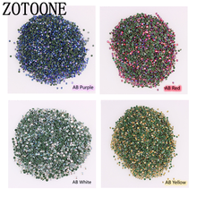 ZOTOONE 1440 stks/pak Goud Platte Achterkant AB Strass 2-3MM SS6-SS12 Crystal 3D Nail Crystal DIY Shiny Diamond sequin Nail Sparkly C(China)