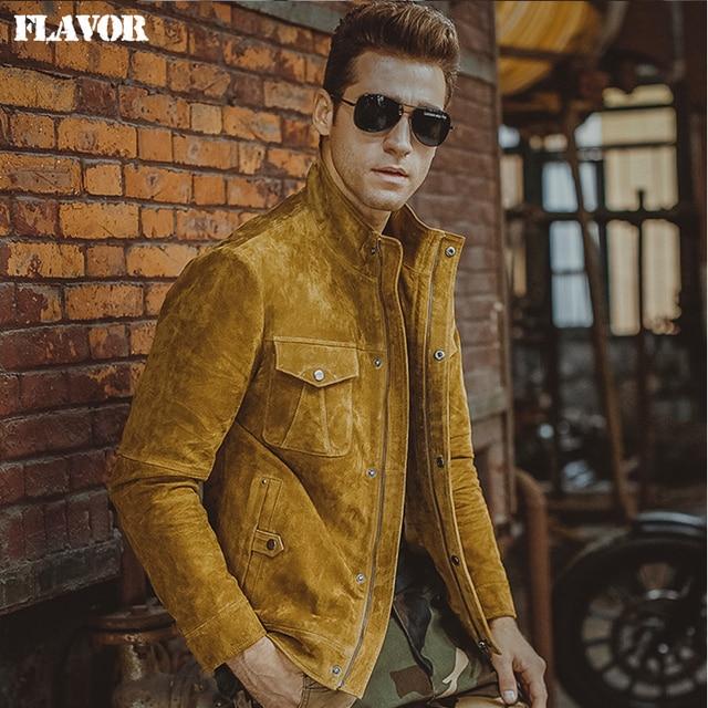 0b5079978b1 Hommes de peau de porc jaune réel veste en cuir Véritable veste En Cuir  moto manteau
