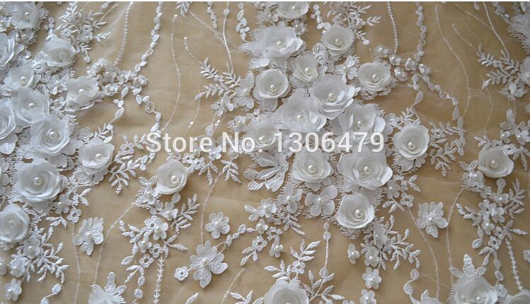 Image 3 - Ivory White Wedding Dress Lace Fabric, 3D Chiffon Flowers Nail 