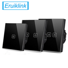 EU/UK Standard Eruiklink Touch Switch 1 Gang/2 Gang/3 Gang Way,Single Fireline Wall Light Switch,Black Crystal Tempered Glass
