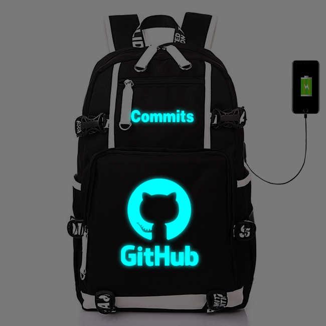 IT Git Hub Commits With USB Luminous Backpack Bags GitHub Laptop Travel  Bags School Teenagers Rucksack Gift Cosplay