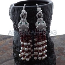 White Pearl Garnet CZ Dragon Earrings
