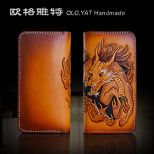 OLG.YAT handmade men wallets women purse long zipper hangbag Italian Vegetable tanned leather Hand-carved Kirin wallet retro bag