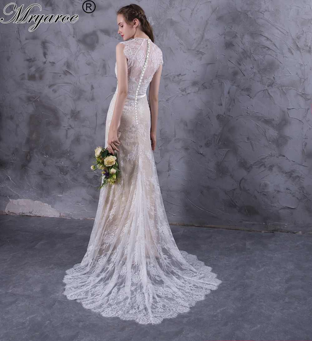 2a34fe7f8cea Mryarce Exquisite Lace Wedding Dresses Boho Cap Sleeve High Low Hem Wedding  Dress With Button Back