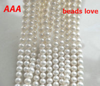 Wholesale AAAHigh Quality 6 7mm 7 8mm 9 10mm Natural Freshwater White Pearl Round Beads 15