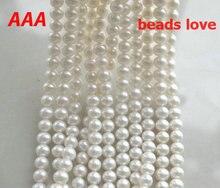 """Comercio al por mayor (calidad AAAHigh) 6-7mm 7-8mm 9-10mm blanco de Agua Dulce Naturales Granos Redondos de la perla 15 """"Envío Libre (F00216)"""
