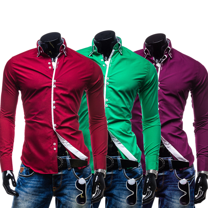 26682f770fd33 Men Shirt Luxury Brand 2018 Male Long Sleeve Shirts Casual Solid Multi  Button Hit Color Slim Fit Dress Shirts Mens Hawaiian XXL-in Casual Shirts  from Men s ...