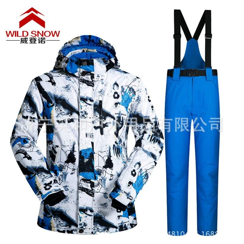 Combinaisons de Ski professionnelles femmes hommes chaud hiver vestes de Ski + pantalon imperméable Ski snowboard vêtements ensemble marque HXT01 - 5