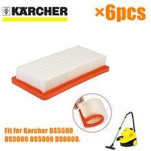 6 قطعة Karcher HEPA تصفية ل DS5500 DS6000 DS5600 DS5800 غرامة جودة مكنسة كهربائية أجزاء Karcher 6.414 631.0 فلاتر هيبا